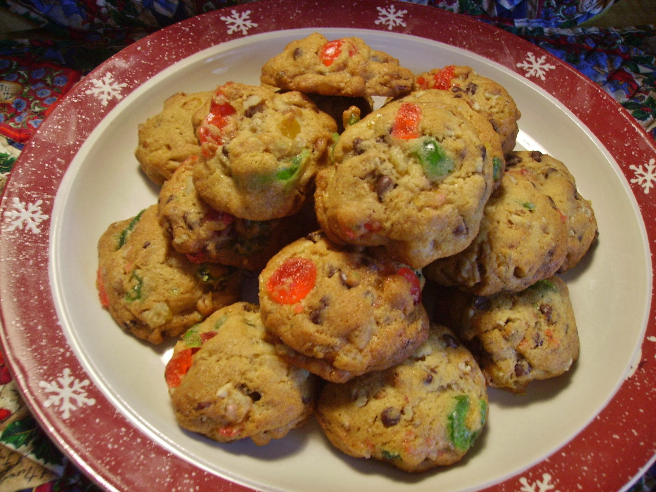 Fruitcake Cookies With Mini Chocolate Chips